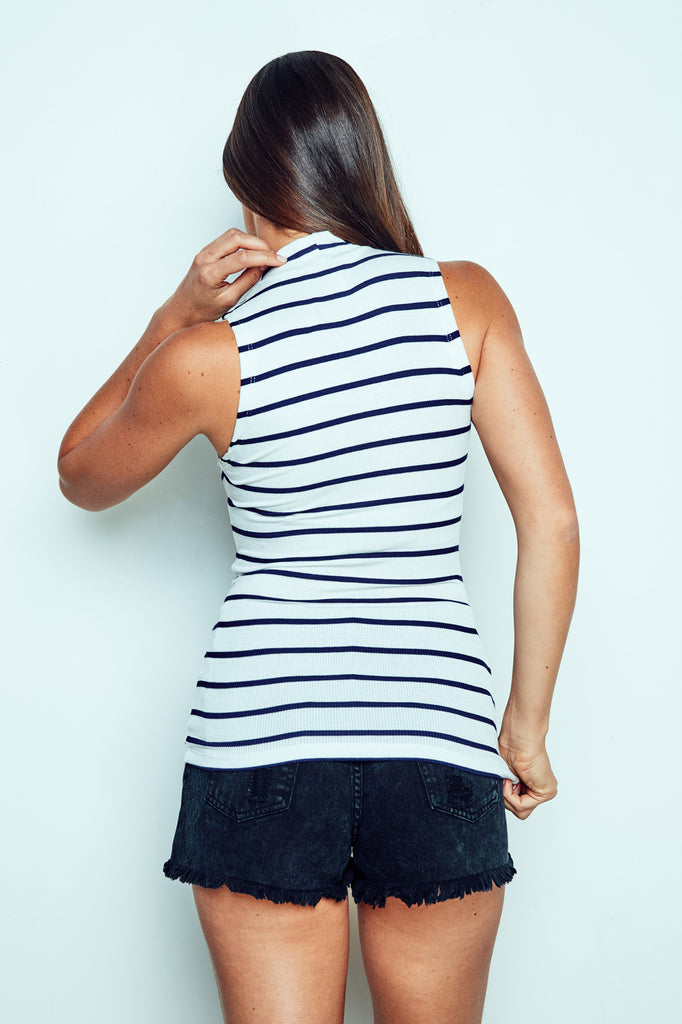 STRIPED MOCK NECK TANK -  2 FOR $12 KNIT TOPS PROMO