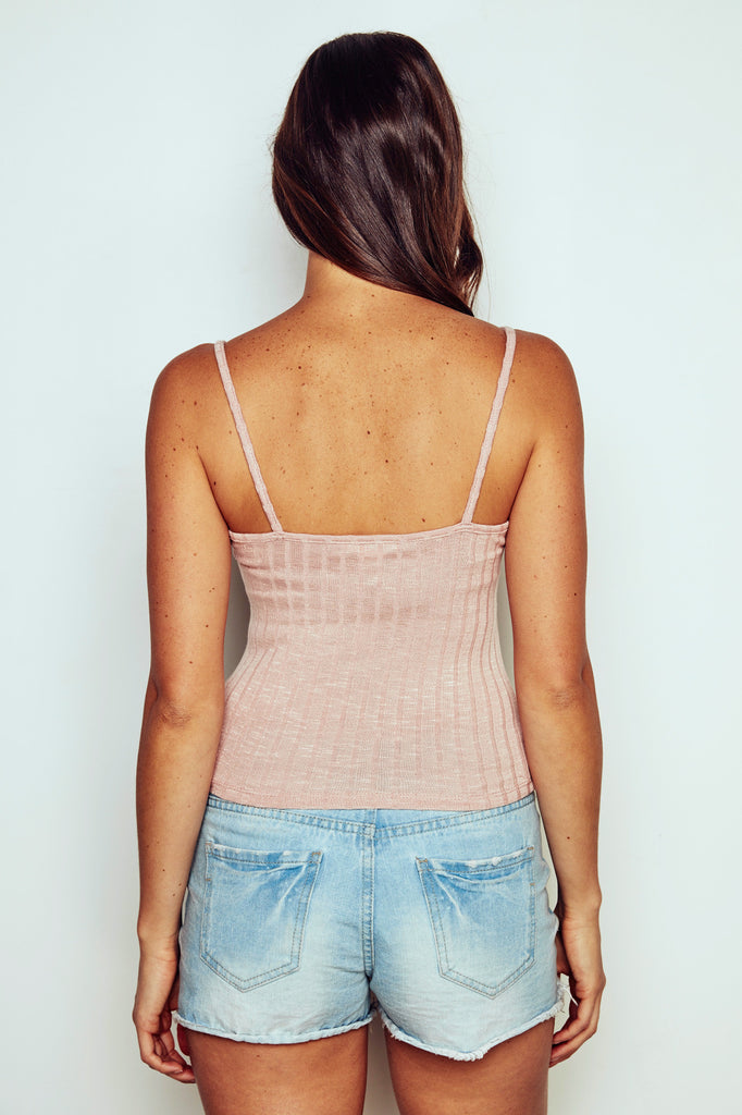 RIBBED KNIT CAMI - REDLINE