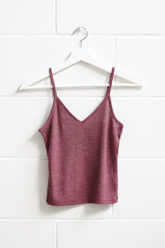 RIBBED KNIT V-NECK CROPPED TANK -  2 FOR $12 KNIT TOPS PROMO