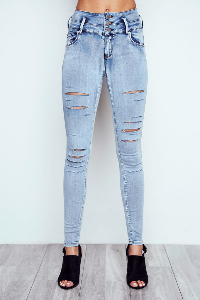 DISTRESSED IBIZA HIGH WAIST ACID WASH BOOTY JEAN
