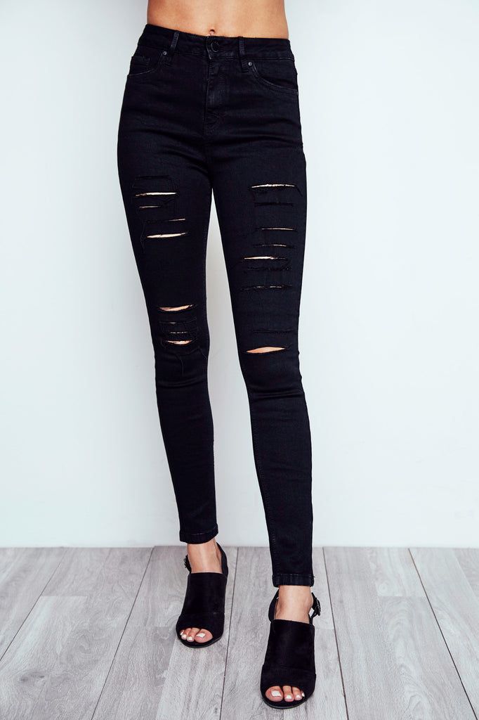 DISTRESSED CALI HIGH RISE BLACK SKINNY JEAN