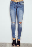 RIO LOW RISE ESSENTIAL BUTT LIFT KNEE SLIT JEAN