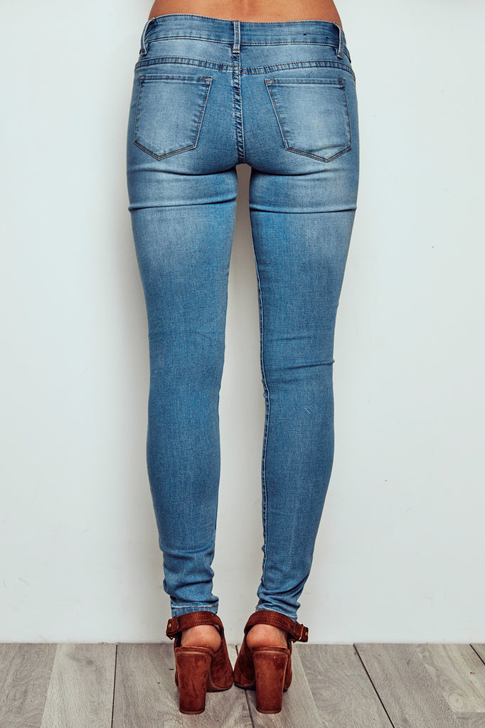 BRAZIL LOW RISE MEDIUM WASH FADED FRONT SKINNY JEGGING - PROMO 60% OFF