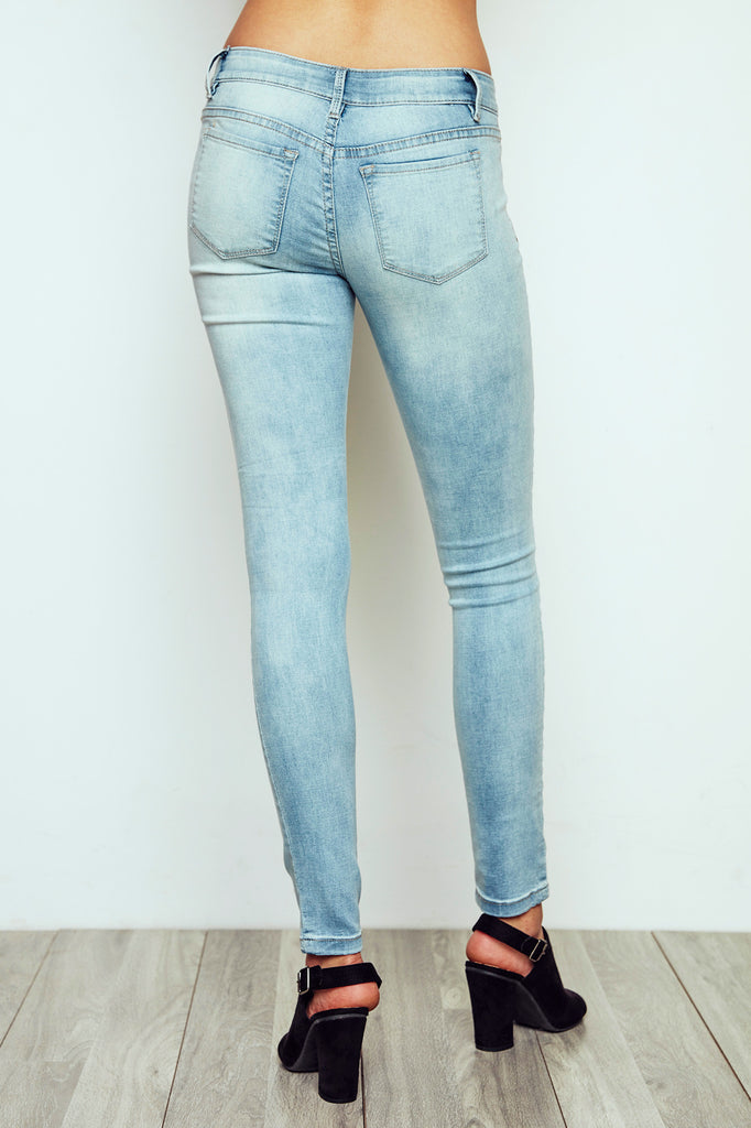 DISTRESSED BRAZIL LOW RISE BLEACHED FADED SKINNY JEGGING