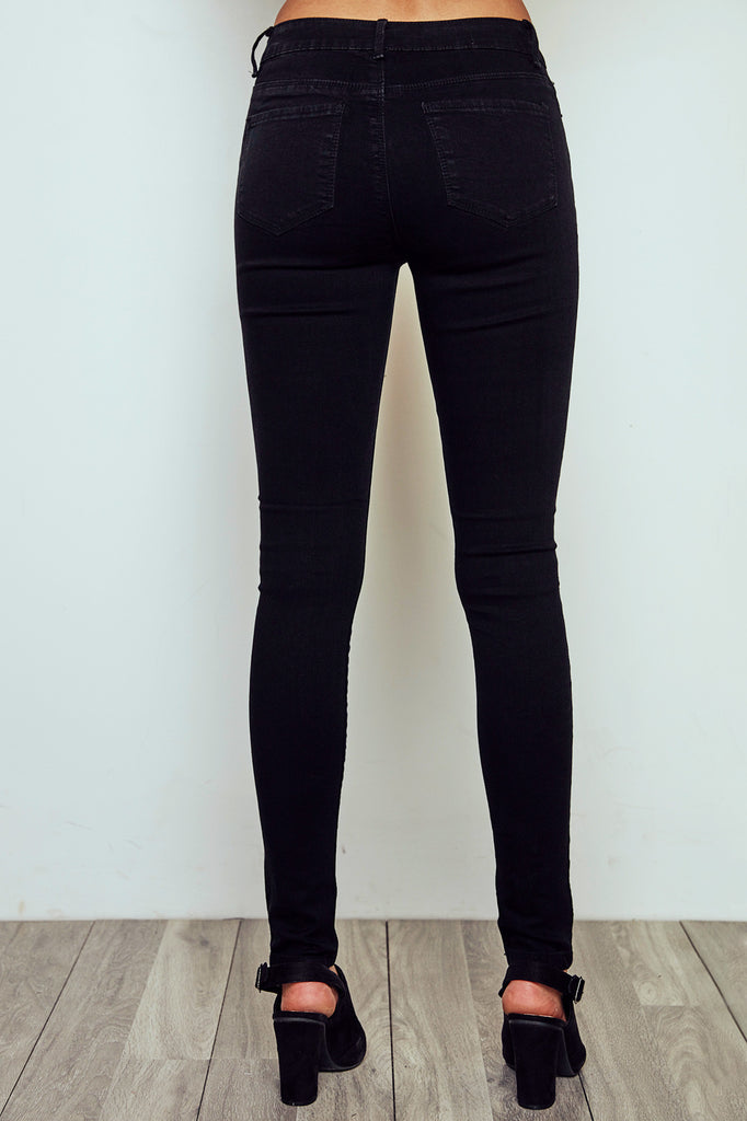MIAMI HIGH RISE DARK RINSE KNEE SLIT SKINNY JEAN
