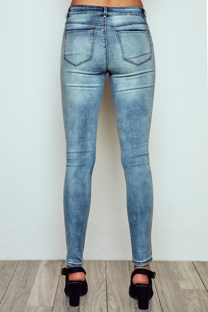 DISTRESSED MIAMI HIGH RISE ACID WASH SUPER SKINNY JEAN