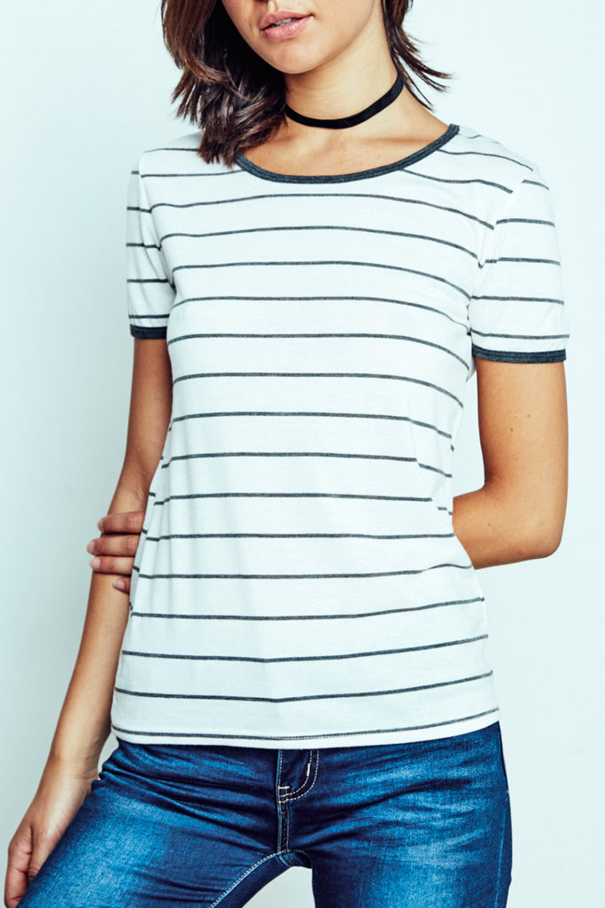 STRIPED RINGER TEE - 2 FOR $15 KNIT TOPS PROMO