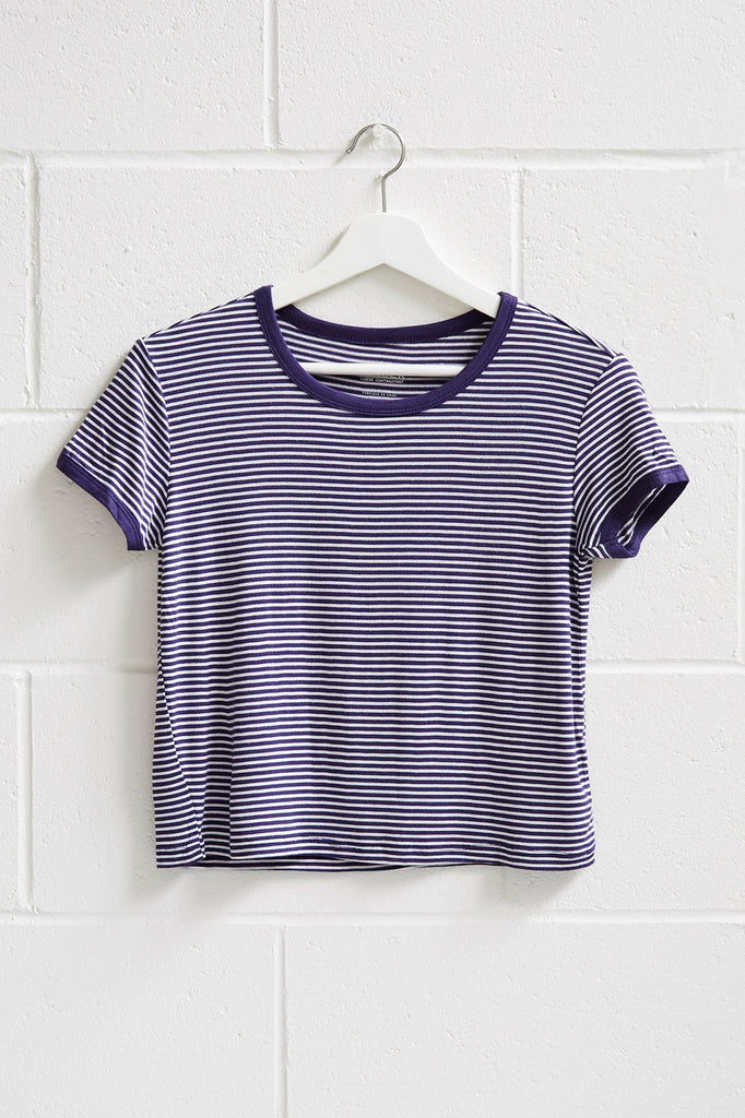 STRIPED CONTRAST TRIM CROP RINGER TEE