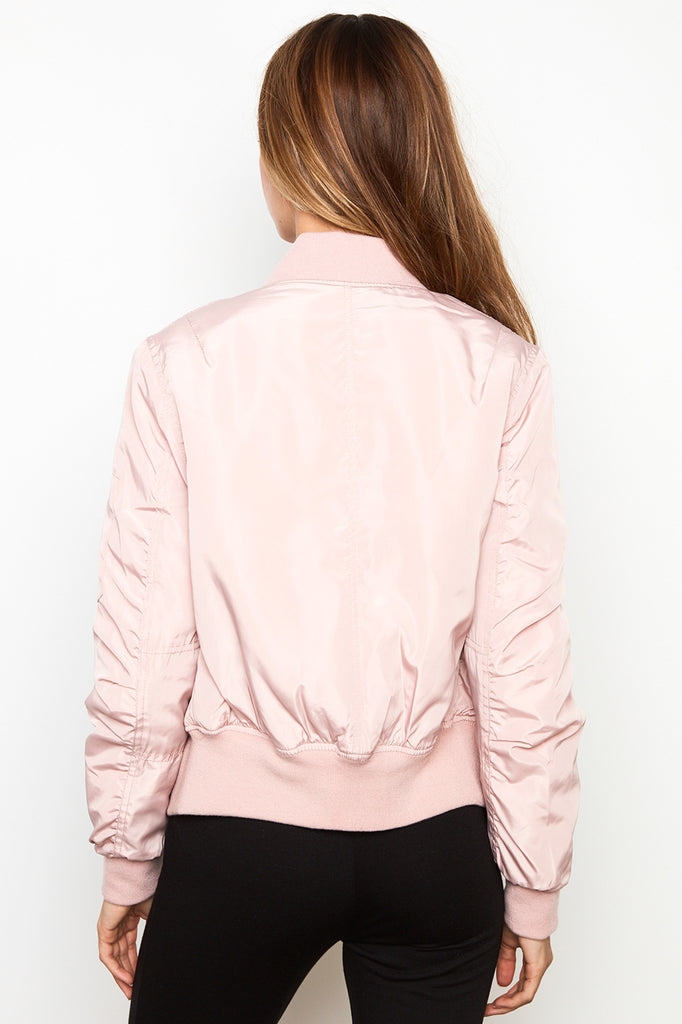 SATIN ZIP-UP BOMBER JACKET