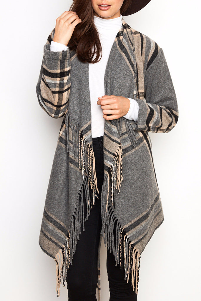 PLAID WATERFALL BELTED JACKET WITH FRINGE