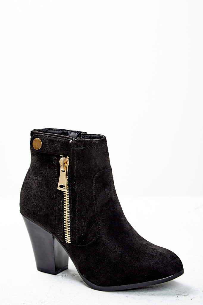 FAUX SUEDE ZIP ANKLE BOOT