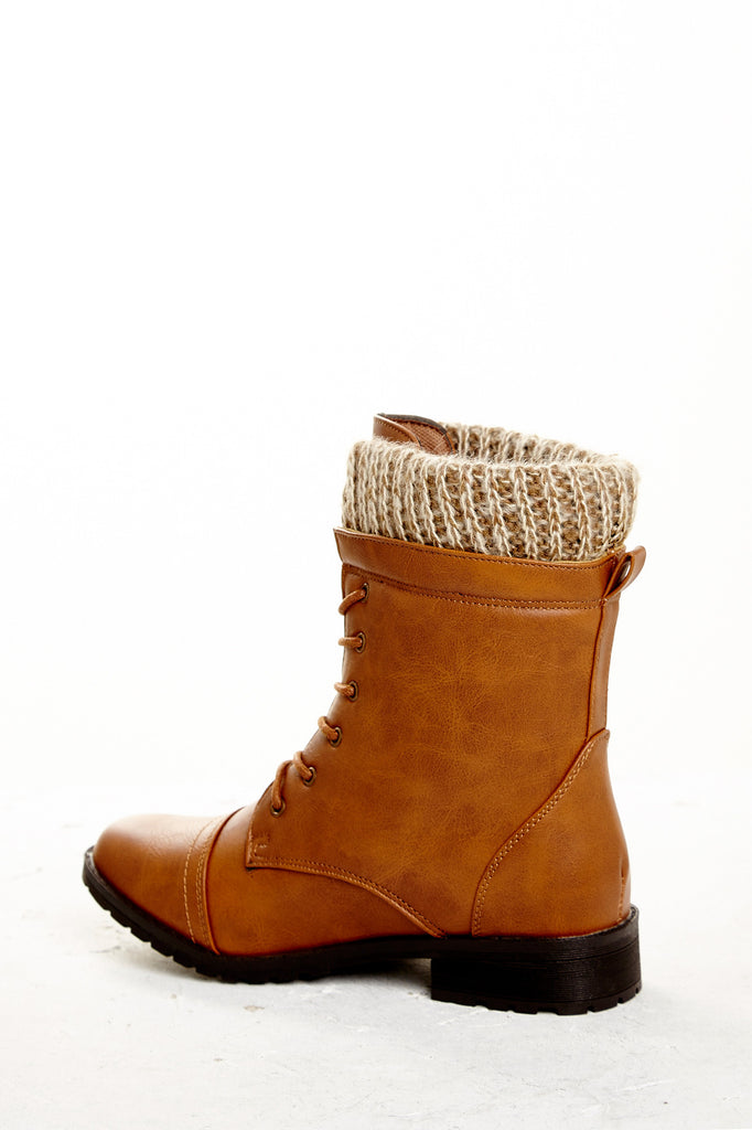 FAUX LEATHER KNIT TRIM LACE-UP BOOT