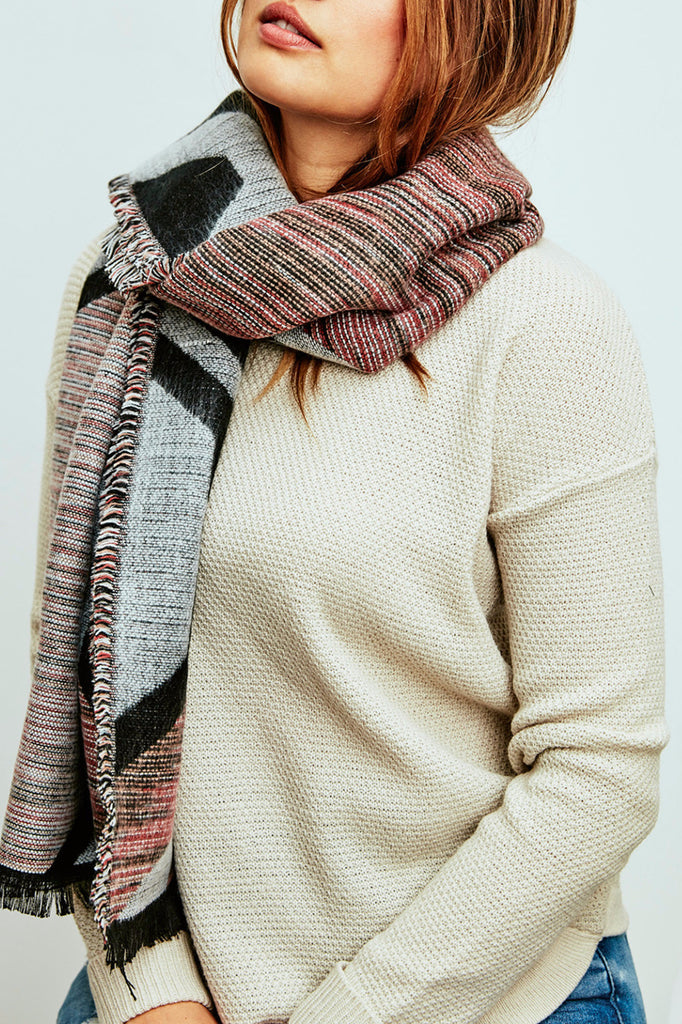 PRINT RAW EDGE RECTANGULAR SCARF
