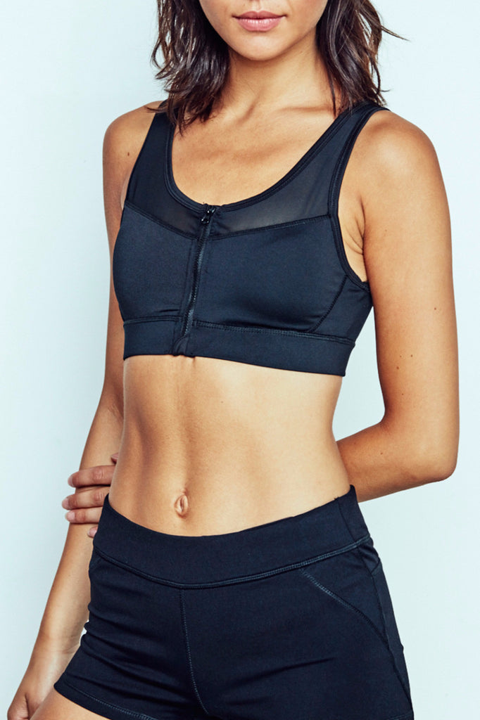 MESH PANEL ZIP-UP SERENITY SPORTS BRA