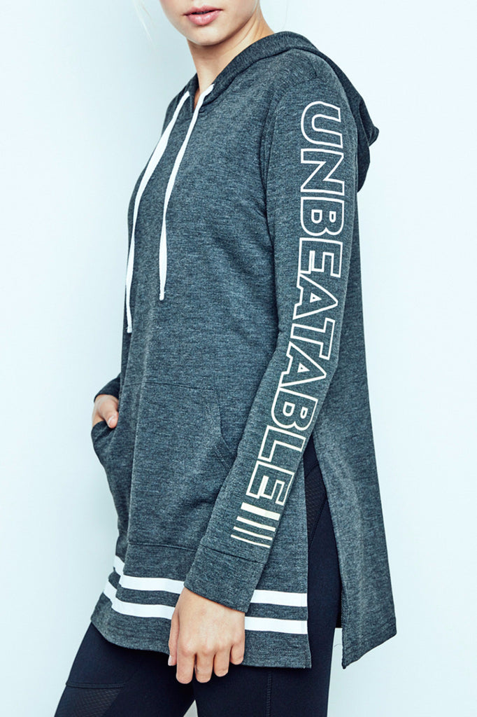 GRAPHIC STRIPED HEM HOODIE