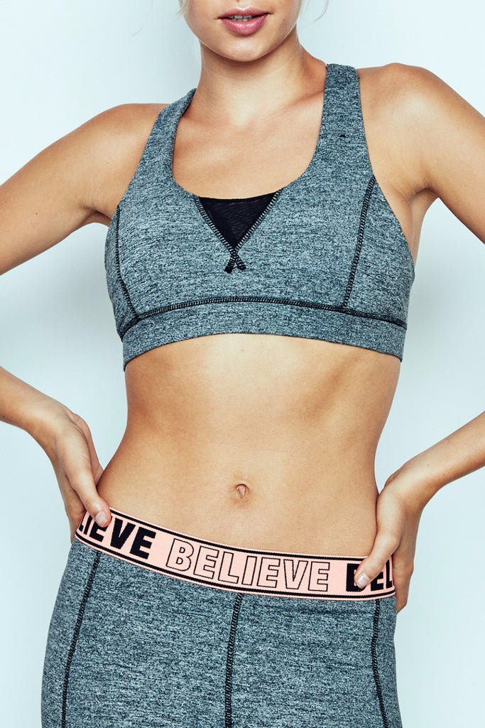 BELIEVE GRAPHIC MARLED SPORTS BRA - PROMO 60% OFF