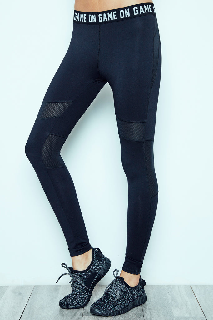 GAME ON GRAPHIC MESH PANEL ENERGY LEGGING