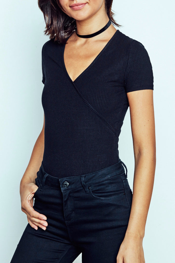 WRAP FRONT V-NECK BODYSUIT
