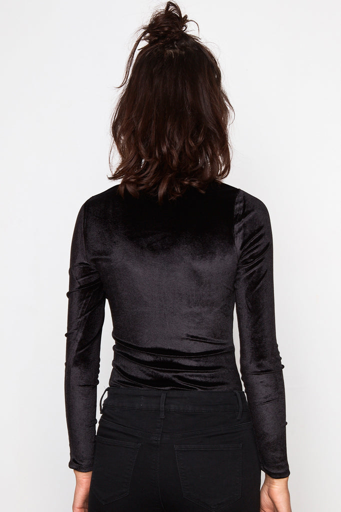 VELVET CHOKER ZIP-UP BODYSUIT