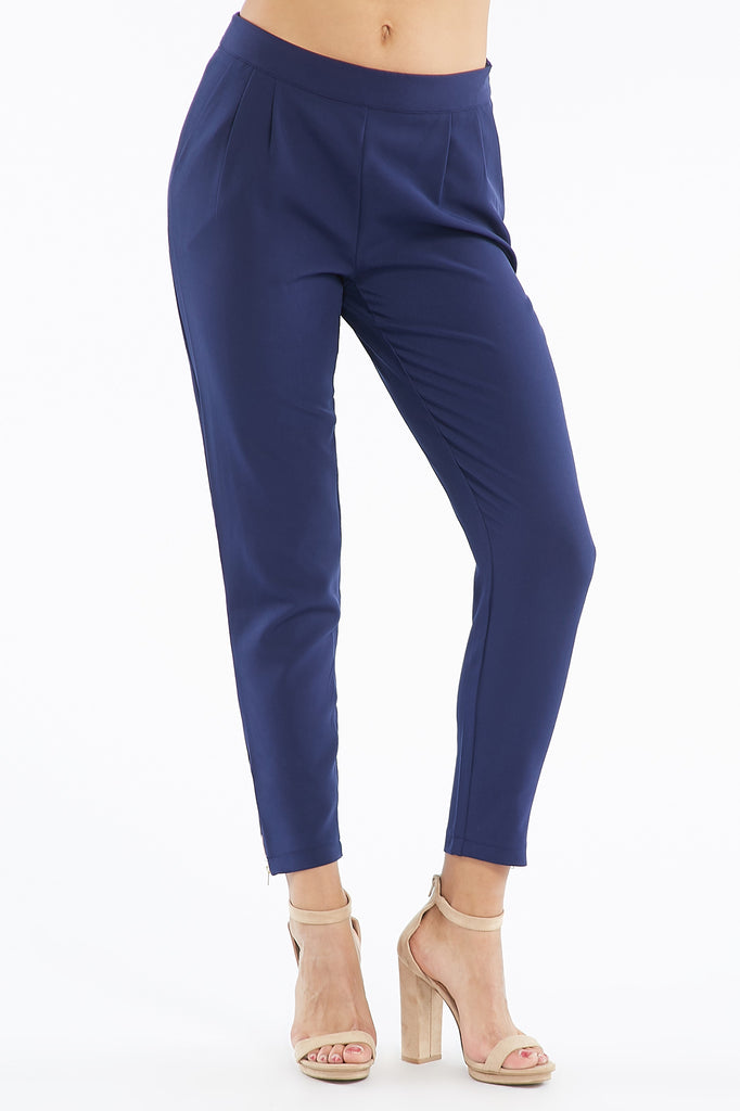 Pleated Zipper Detail Ankle Pant