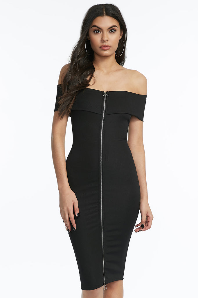 Zip-Front Off The Shoulder Bodycon Dress