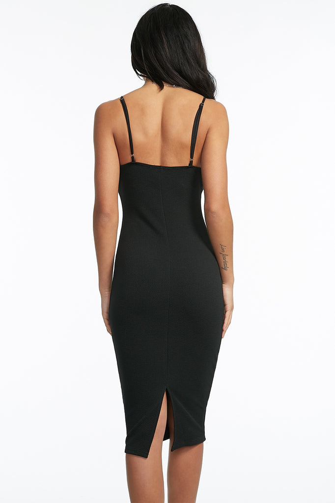 Slit Back Textured Bodycon Dress