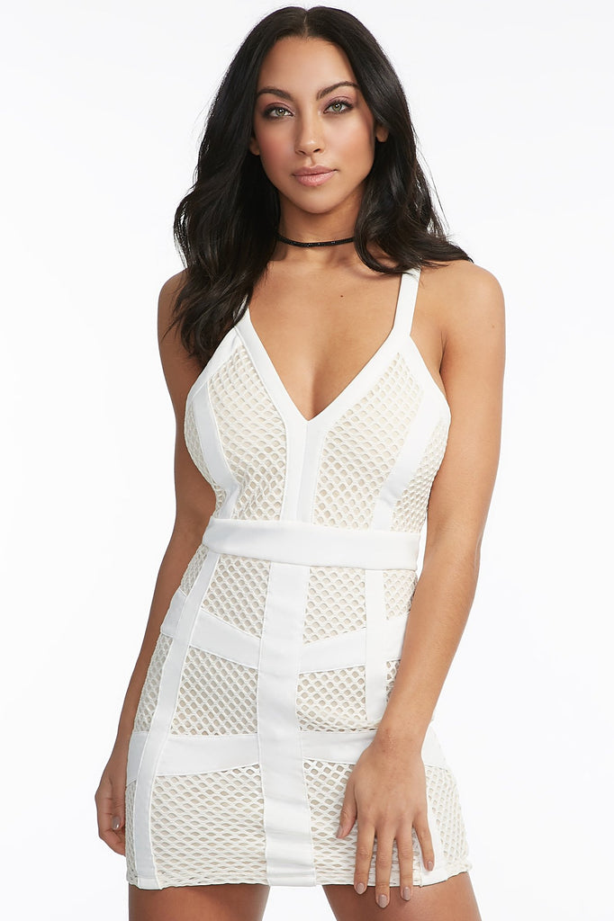Fishnet Overlay Caged Bodycon Dress