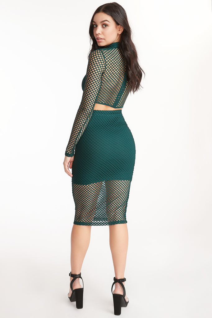 Fishnet Overlay Midi Skirt
