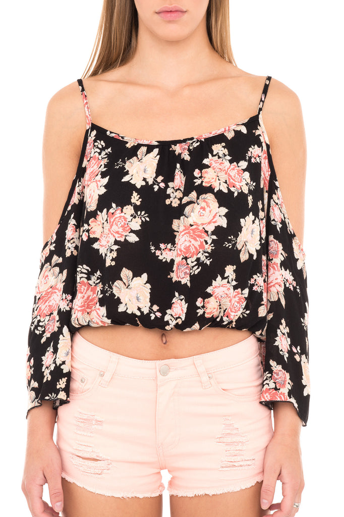 FLORAL OFF THE SHOULDER CROPPED BLOUSE
