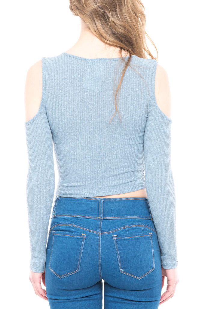 COLD SHOULDER ZIP UP TOP - LA*
