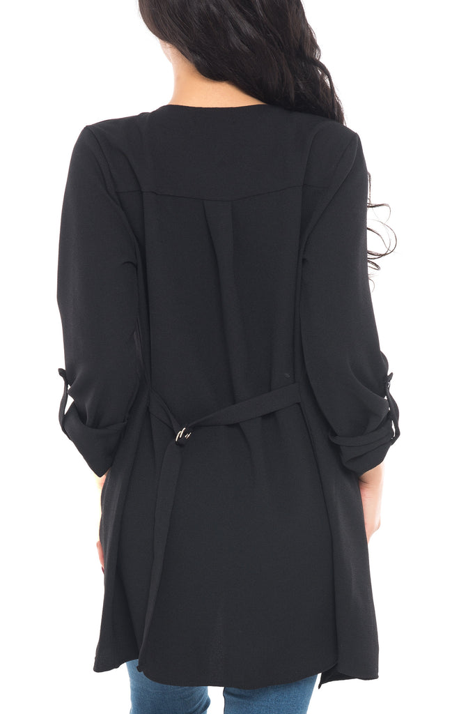 LONG SLEEVE DUSTER WITH CASCADING OPEN FRONT - SALE
