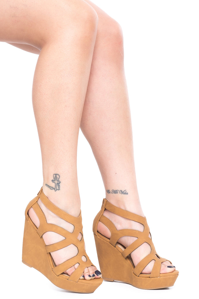 FAUX SUEDE CAGED WEDGE HEEL