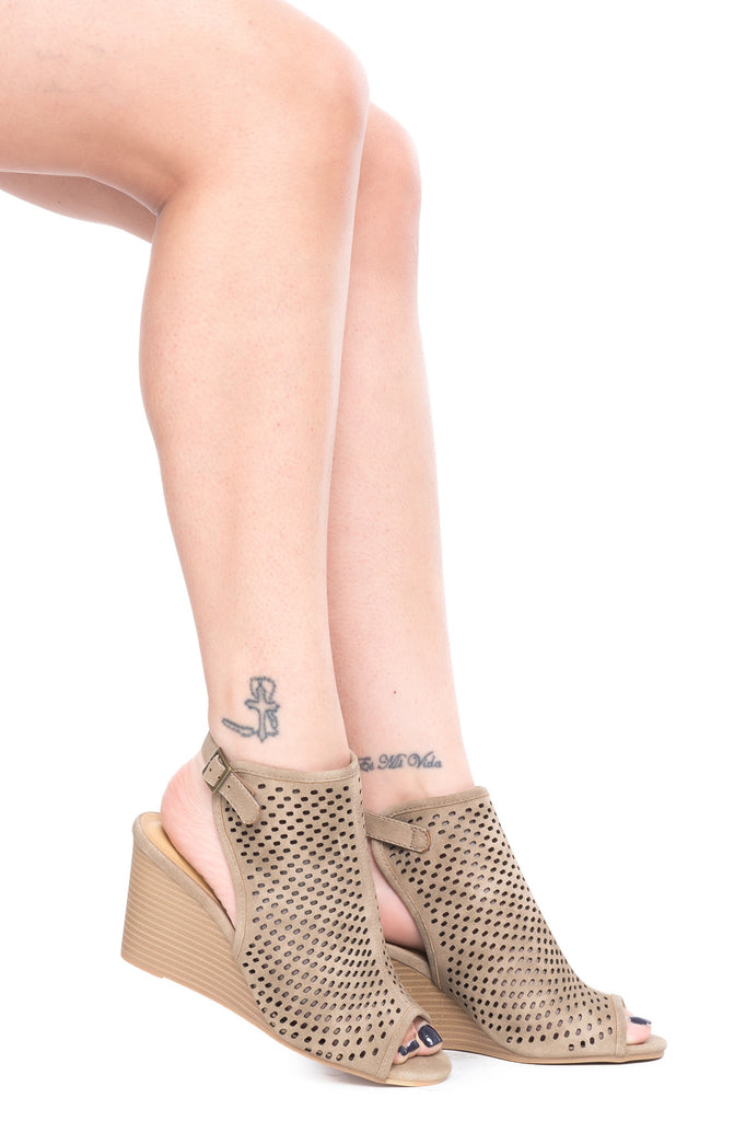 FAUX SUEDE PERFORATED WEDGE HEEL - SALE