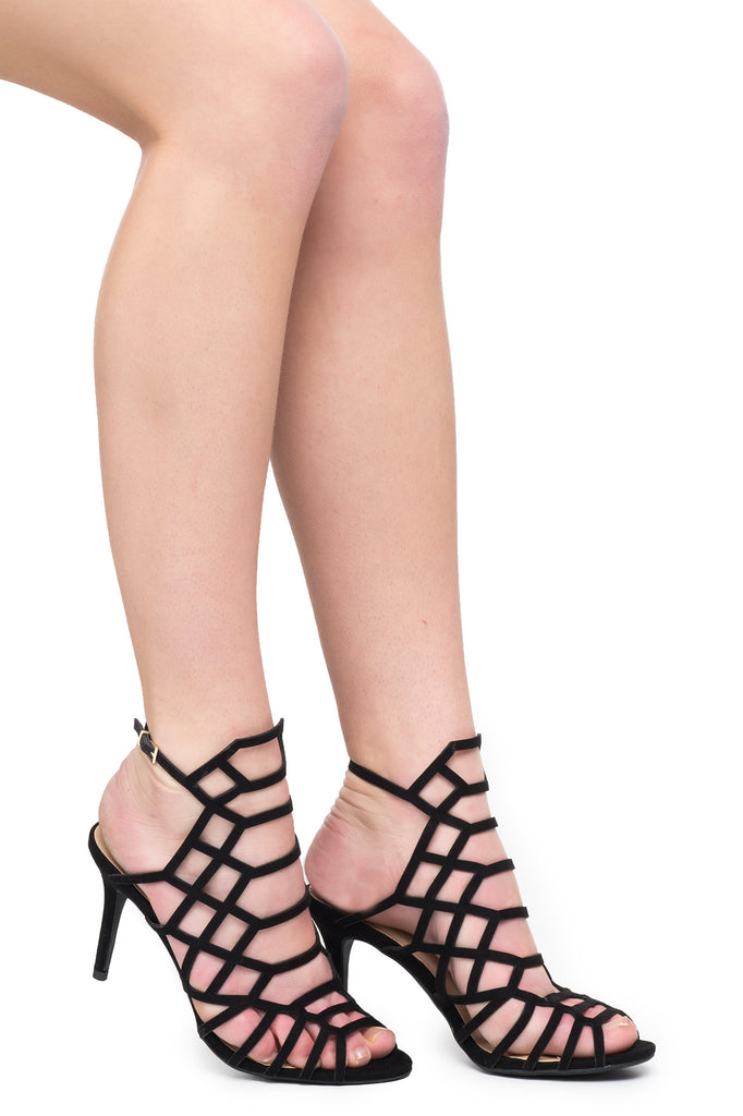 FAUX SUEDE CAGED ANKLE STRAP HEEL - SALE