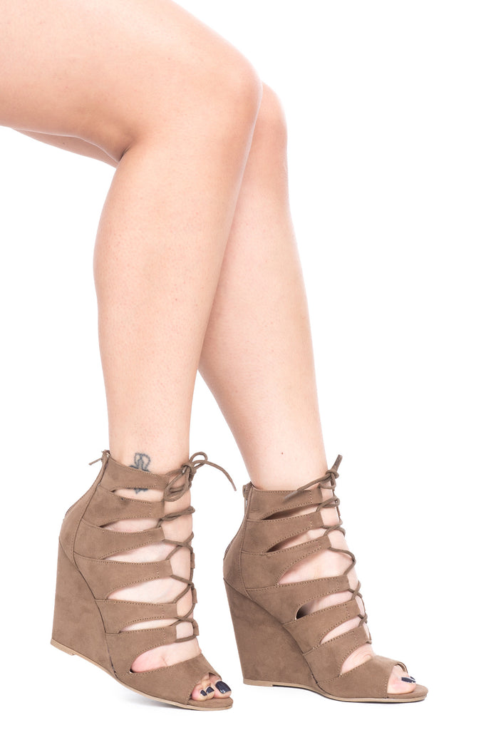 FAUX SUEDE LACE-UP WEDGE HEEL