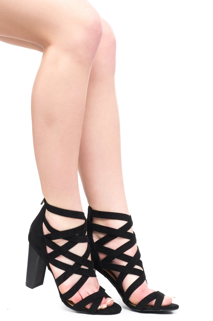 FAUX SUEDE STRAPPY HEEL