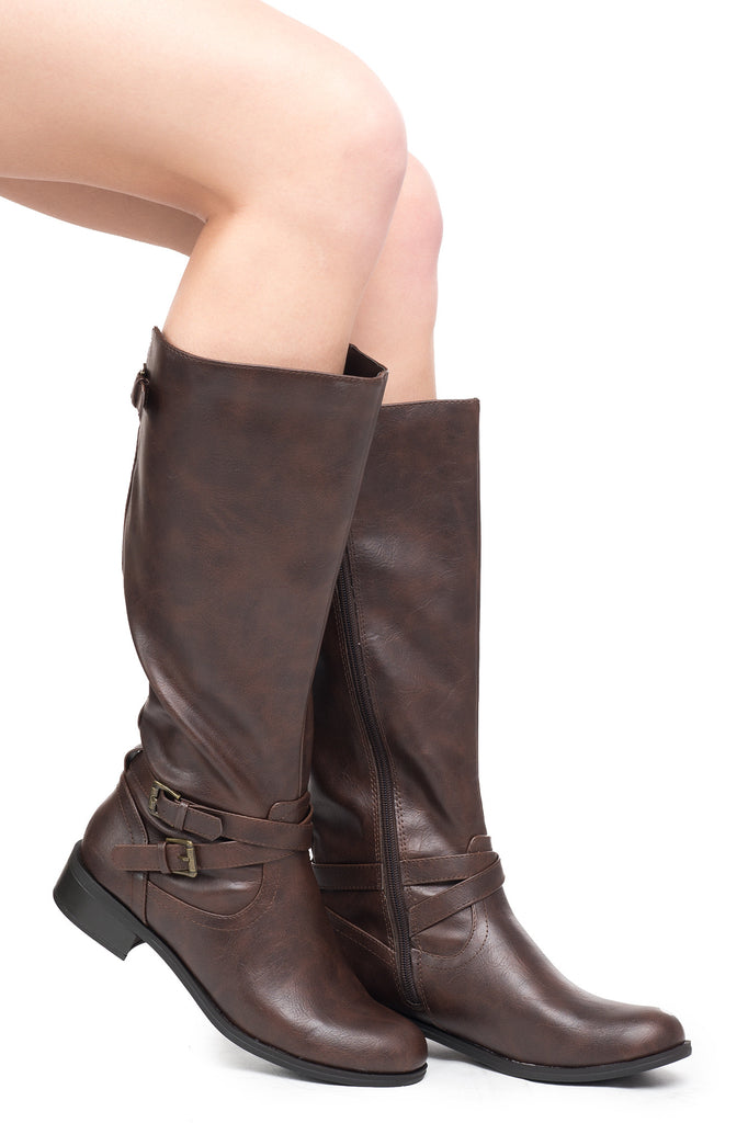 FAUX LEATHER BUCKLED RIDING BOOT