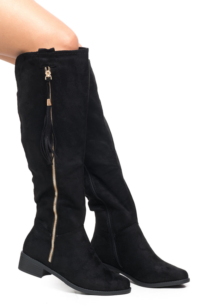 FAUX SUEDE SIDE ZIP KNEE HIGH BOOT