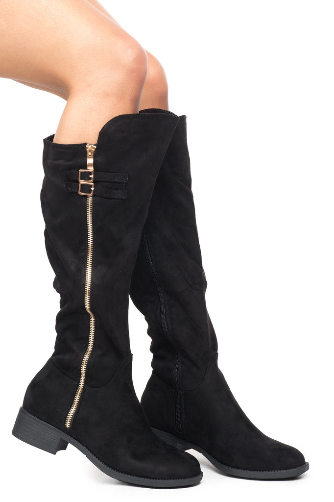 FAUX SUEDE SIDE ZIP BUCKLED KNEE HIGH BOOT - SALE