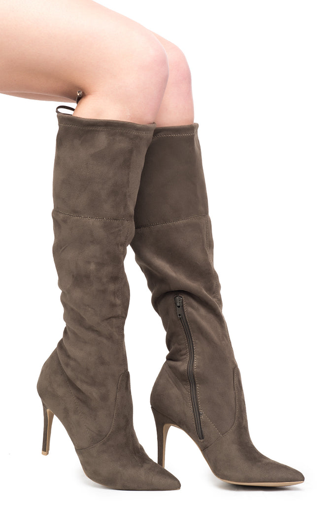 FAUX SUEDE KNEE HIGH POINTED STILETTO BOOT - SALE