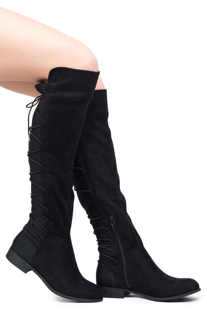 FAUX SUEDE OVER THE KNEE LACE-UP BOOT - SALE