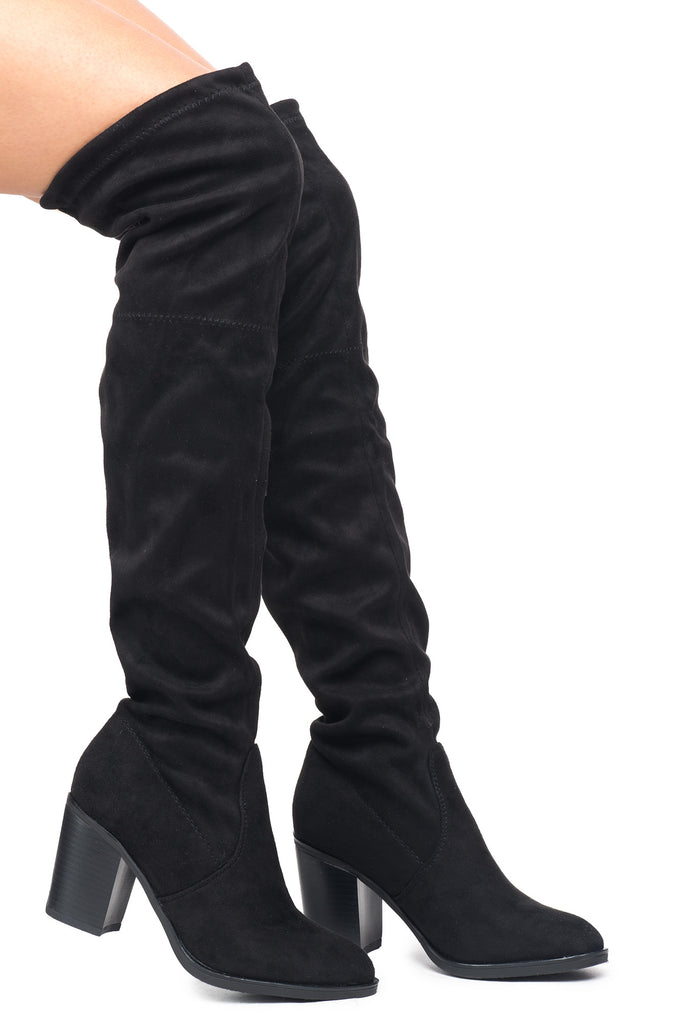 FAUX SUEDE OVER THE KNEE STACKED HEEL BOOT - SALE