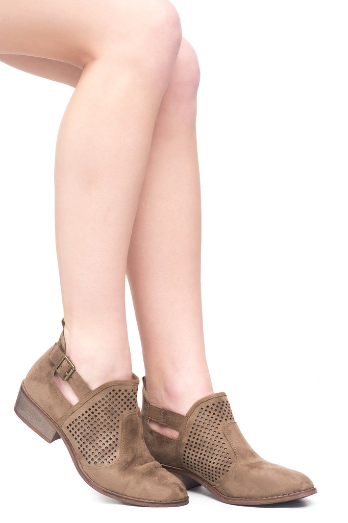 FAUX SUEDE PERFORATED BUCKLE SHOE - SALE