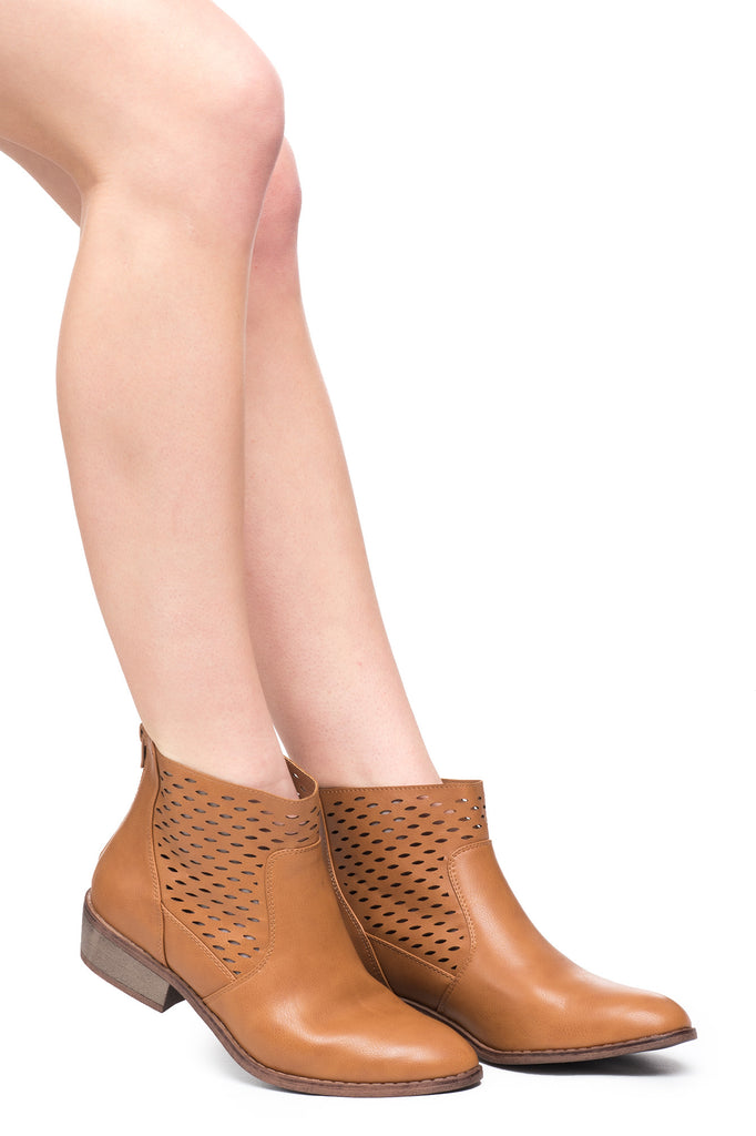 FAUX LEATHER PERFORATED ANKLE BOOT - SALE