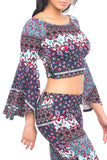 OFF THE SHOULDER PRINTED BELL SLEEVE TOP - SALE