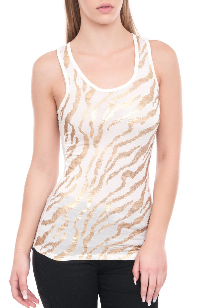 RACER BACK SEQUINS TANK TOP