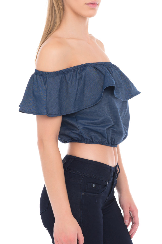 OFF THE SHOULDER CROP TOP WITH RUFFLE DETAIL