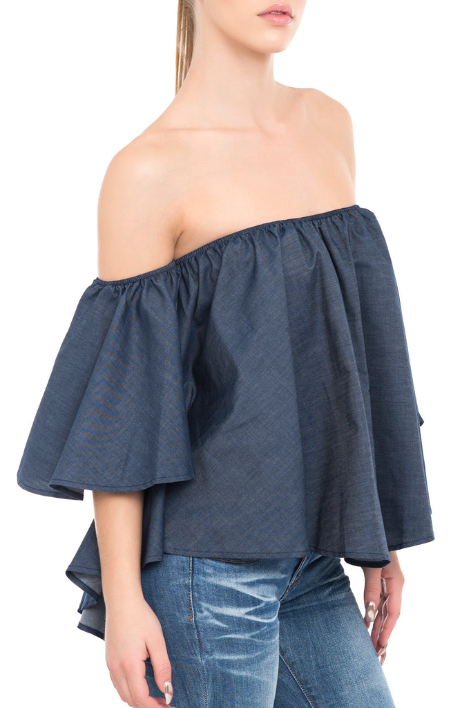 OFF SHOULDER SWING TOP WITH SHORT SLEEVES