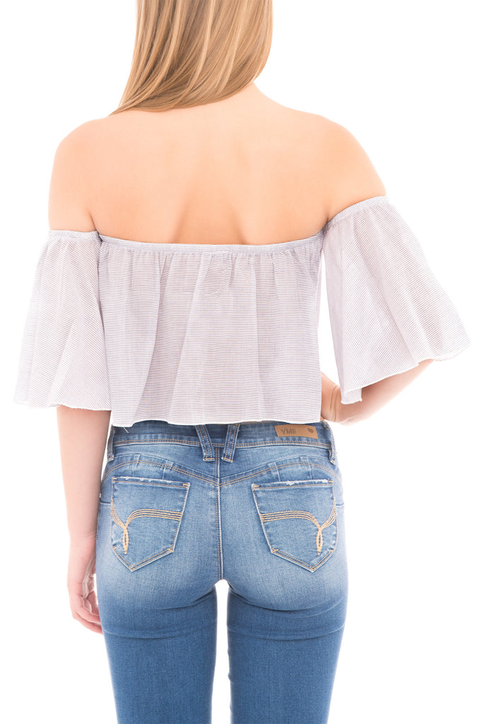 SEXY STRIPE CROP OFF THE SHOULDER TOP