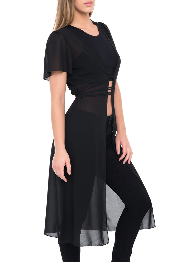 SHORT SLEEVE TIEABLE TRANSPARENT CAPE